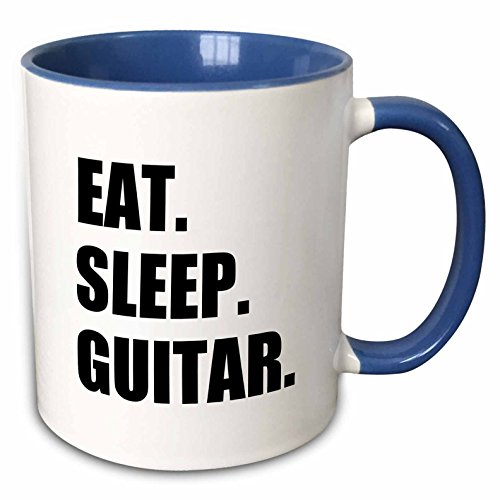 3dRose 180408_6 Eat Sleep Guitar Fun Text Gifts For Guitarist Musicians Music Player Two Tone Mug, 11 oz, Blue