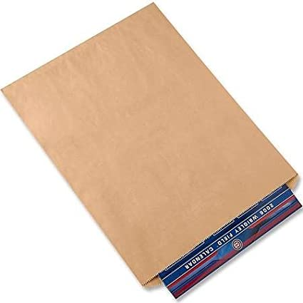 15 in X 18 in A1BakerySupplies Premium Quality Kraft Paper Bags Flat Merchandise Bags Made in USA 100pack