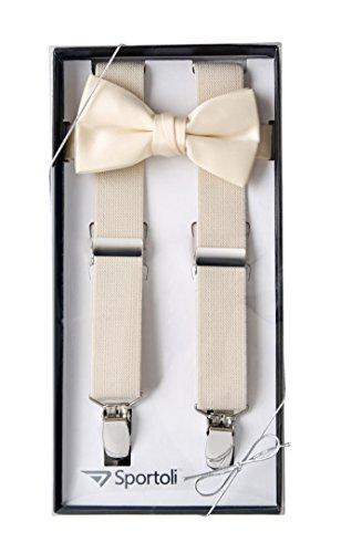 - Suspenders for Kids Gift Set Wedding Tuxedo Genuine Leather Premium 1 Inch Suspender -Ivory (26 Inch)