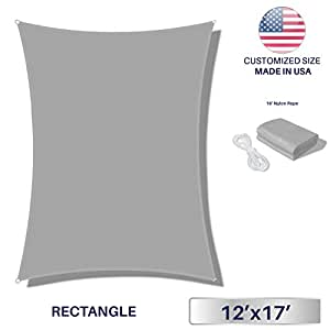 Windscreen4less Terylene Waterproof Sun Shade Sail UV Blocker Triangle Sunshade Patio Canopy Sail 12' x 17' in Color Light Grey - Customized Sizes