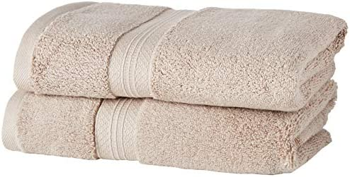 Pinzon Lot de 2 serviettes essuie-mains en coton Pima Kaki