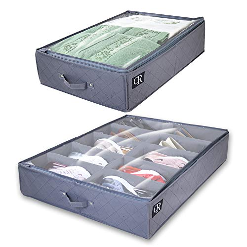 OR Under Bed Storage Made with Sturdy & Breathable Materials- Set of 2 Foldable Underbed Organizer Solution for Kids Adults (Men & Women) for Shoe and Clothing,  More