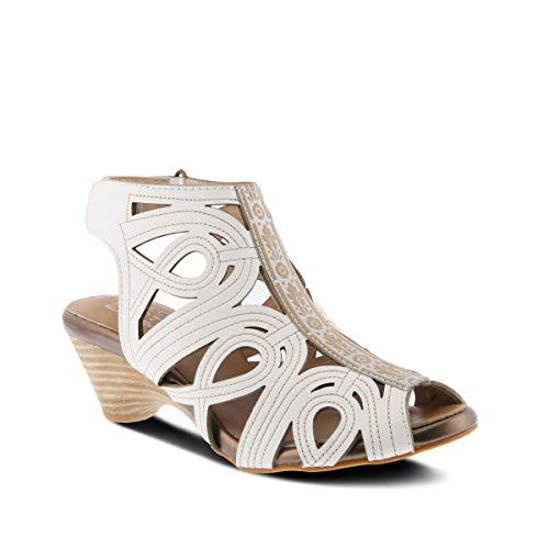 L'Artiste by Spring Step Women's Flourish Gladiator Sandal, White, 40 EU/9 M US