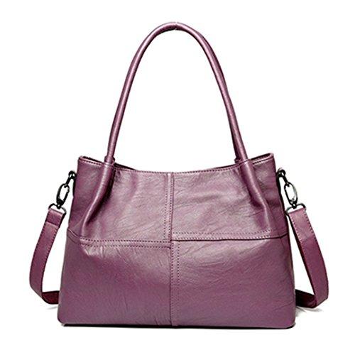 Femmes Top femelle Purple coutures à Sac Designer 22cm main grand Sacs main Sacs à a sacs bandoulière 26cm sac noir Sacs 37cm Handle main femmes en à cuir rqPv1r