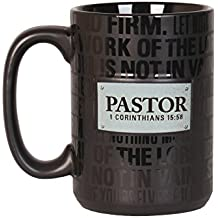Lighthouse Christian Products Badge of Faith Pastor Ceramic Mug, 16 oz