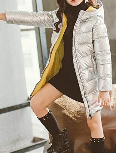 XiaoTianXinChildrenscostumes XTX Big Girls Thick Down Jacket Hooded Winter Glitter Cotton-Padded Parka Coat