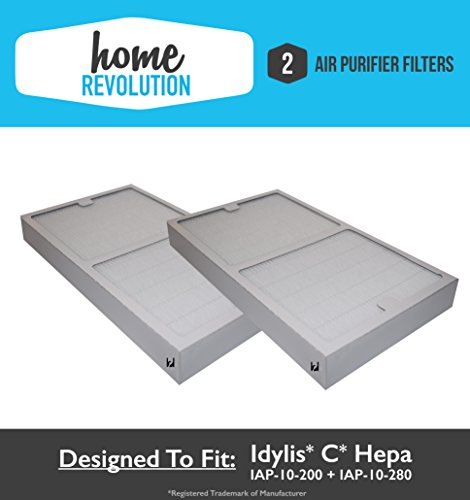 Idylis C HEPA Air Purifier Filter replacement; Fits Idylis Air Purifiers IAP-10-200, IAP-10-280; Home Revolution Brand Replacement (2)
