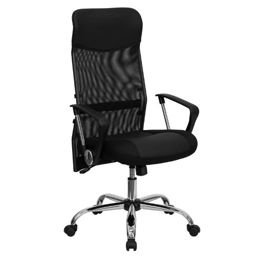 High Back Black Leather and Mesh Swivel Task Chair