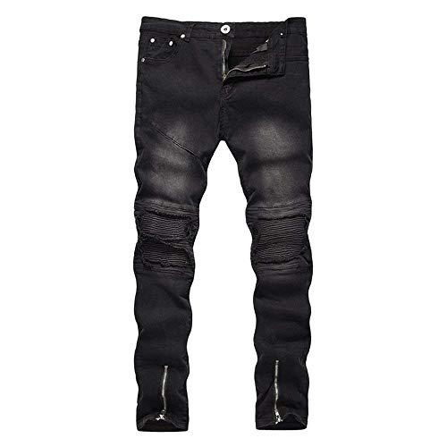 Denim Nero Taglie Chiusura Casual Cerniera Moda Comode Elasticizzati Jeans Abiti Con Alla Strappati Vintage WBnWx0