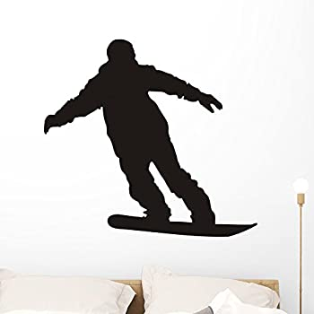 Wallmonkeys Snowboarder Silhouette Wall Decal Peel and Stick Graphic (36 in W x 33 in H) WM230774