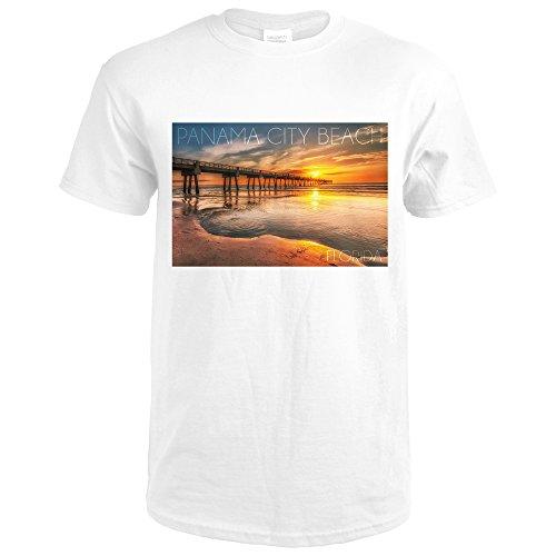 Panama City Beach, Florida - Pier and Sunset (Premium White T-Shirt - Beach City Pier Panama