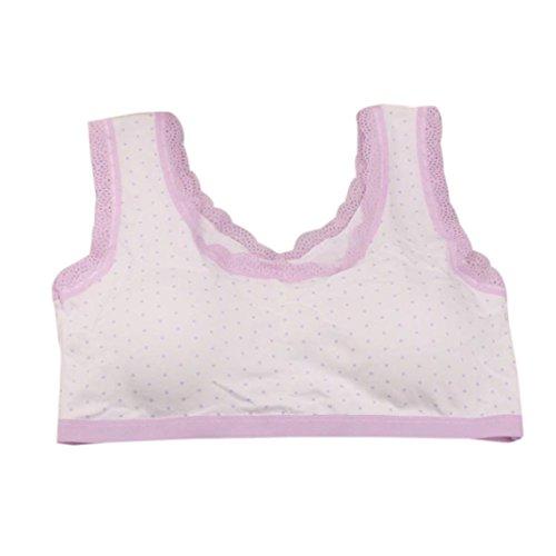 Longra ♥Nuevo sujetador encantador de la ropa interior del cordón de las muchachas, sujetador del deporte de Underclothes de los niños Púrpura