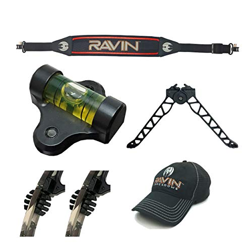 Ravin Crossbows Precision Shooter's Kit with TacHead Bipod, Scope Bubble Level, Vibration Dampeners, Shoulder Sling and Camo Hat   for Any Crossbow