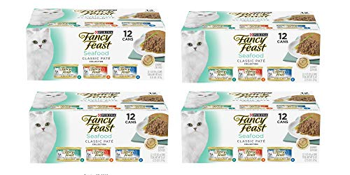 Purina Fancy Feast Grain Free Pate Wet Cat Food Variety Pack; Seafood Classic Pate Collection - (12) 3 oz. Cans/ 4- Pack ()