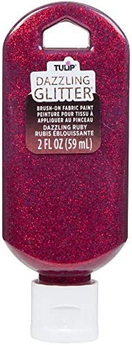 Tulip Dazzling Glitter Brush-on Fabric Paint 2oz-ruby