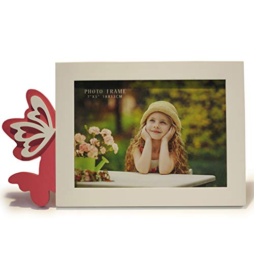 Talented Things 5 x 7 Wooden Photo Frame in White, Easter Theme with Pink Butterflies, Butterfly Contemporary Style, Picture Size 5x7 (Butterflies, 5 x 7)