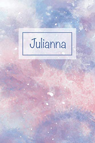 Julianna: First Name Personalized Notebook, College Ruled (Lined) Journal, Cute Pastel Notepad with Marble Pattern for Girls, Teens and Women