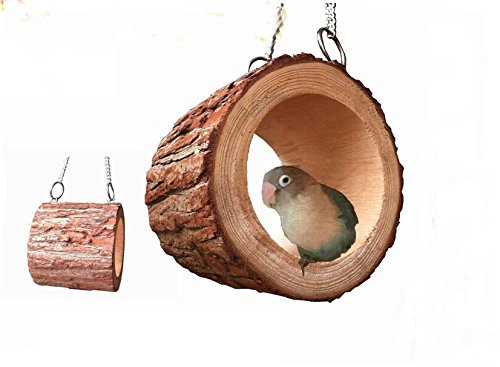 Natural wood preservative birds nest bird house home decoration toy bird cage pet nest medium small parrot supplies yellow by LL-Partner