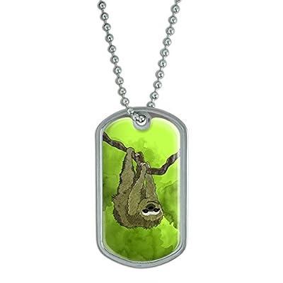 Sloth Watercolor Military Dog Tag Keychain - 0095614445972