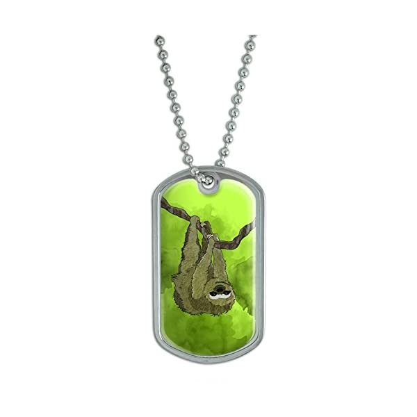 Sloth Watercolor Military Dog Tag Keychain -