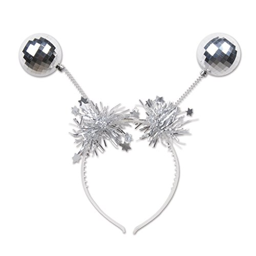 Adult size Silver Disco Ball Boppers on Headband - New Year - Mardi Gras - Rave