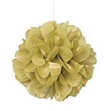 Unique Party- Paquete de 3 pompones pequeños de papel de seda, Color oro, 23 cm (64218)