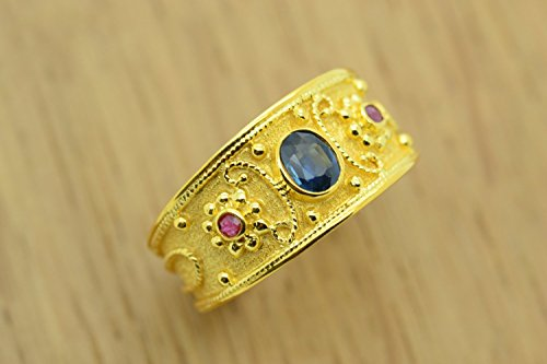 Ring Etruscan Style (Sapphire Ruby Ring Byzantine Style 925 Sterling Silver 22K Gold Plated Greek Handmade Art Ring, Byzantine Rubies Sapphires CZ Ring, 22K Gold Plated Ring, CZ Band Ring, Sterling Silver Ring, Etruscan Style Ring, Byzantine Ring, Greek Jewelry, Luxury Ring, Medieval Ring, Elegant Sterling Silver Ring, Blue Red cubic zirconia Ring, byzantine jewelry)