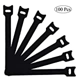 100 PCS Reusable Fastening Cable Ties with Microfiber Cloth Hook and Loop Cord Ties Black