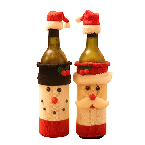 Bottle Party Wine (2PCS Christmas Wine Bottle Cover Decorative Gift Ugly Wrapping Sweater Holiday Table Decor Champagne Cute Decoration Cover Bags Santa Clause Snowman For Thanksgiving Christmas Party Dinner Hotel Bar)