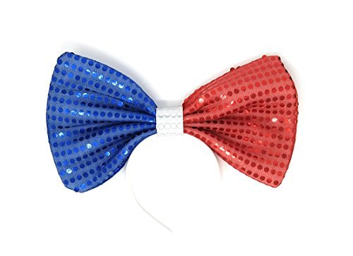 "Price comparison product image Big Blue and Red Sequin Bow Headband, for kids and adults. Bow measures 11.6"" W x 7"" H"