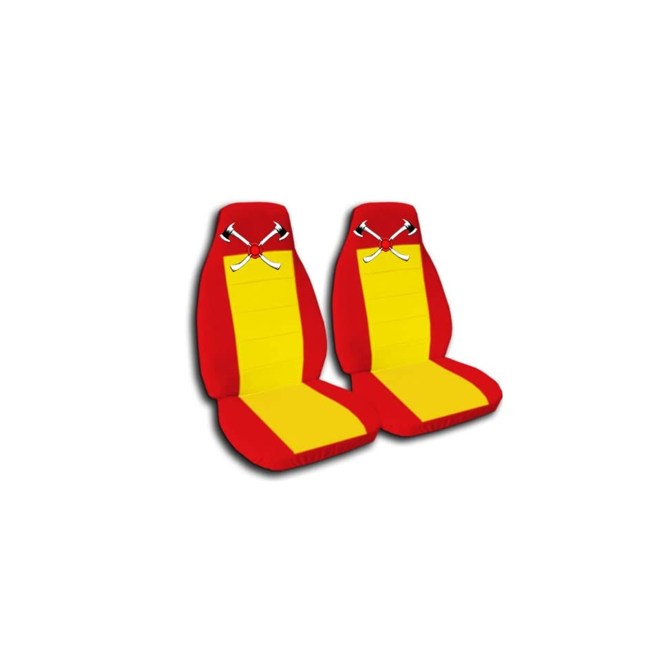 Red and yellow AXE seat covers. 40/60 split seat covers for a Ford F 150 Super Crew cab. Center console included