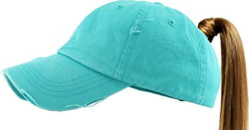 KBETHOS PONY-001 TUQ Ponytail Messy High Bun Headwear Adjustable Cotton Trucker Mesh Hat Baseball Cap