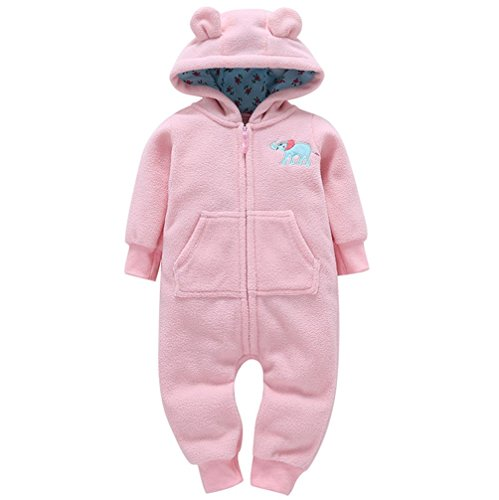 Kehen Toddler Baby Girl Boy Winter Costume Thick Warm Outwear Long Sleeve Cotton Hoodie Romper (#4 Pink, 18-24 Months)