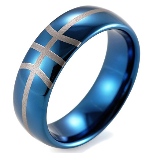 SHARDON Men's 8mm Plating Blue Domed Tungsten Ring with Engraved Basketball Pattern Size 7