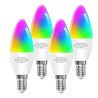Dogain Smart Light Bulbs E12 Base B10/B11 LED Candelabra Bulbs, Color Changing and Dimmable, Compatible with Alexa Google Home, Tunable White Chandelier Light Bulbs 320 lm 35w Equivalent, 4 Pack