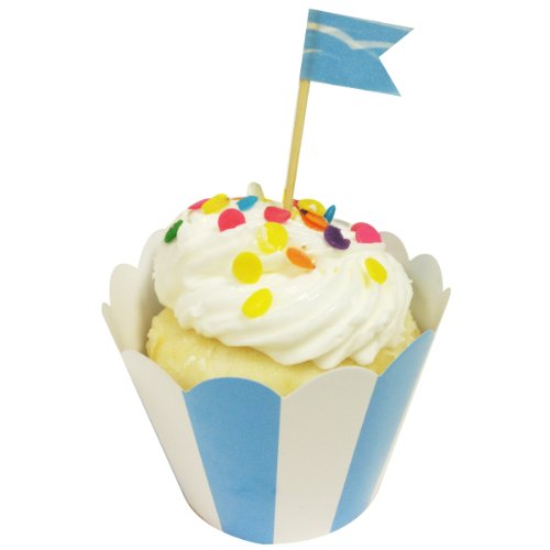 Wrapables Standard Size Striped Cupcake Wrappers (Set of 60), Blue