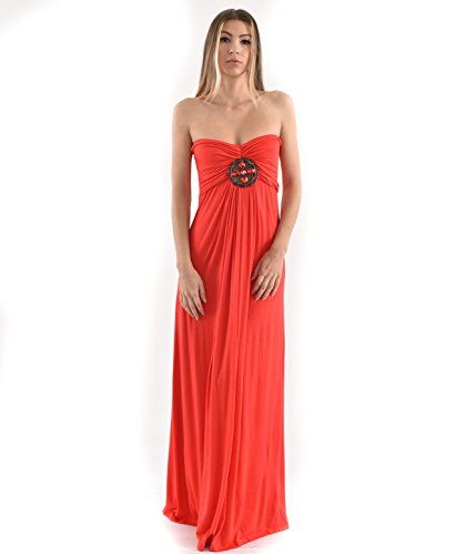 Betsy Red Couture Women's Ruched Strapless Maxi Dress (L, Coral)