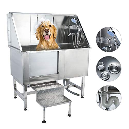 (CO-Z 50 Inches Professional Stainless Steel Pet Dog Grooming Bath Tub Station Wash Shower Sink with Faucet Walk-in Ramp and Accessories (50 Inches Pet Grooming Tub Station))