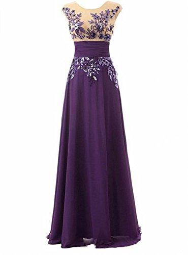 chiffon Leader damigella party the donna Purple abito Sequine da Dress lunga Prom d' onore of Beauty sera vBnqqWrXp