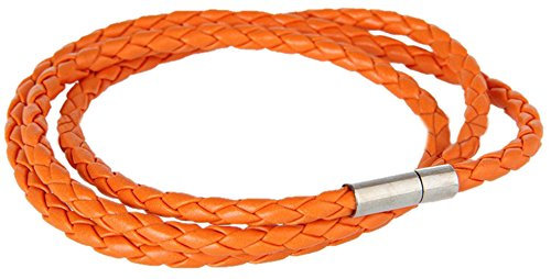 Golastartery Punk Alloy Buckle Multilayer Weave PU Leather Bangle Cuff (Orange Leather Bracelet)