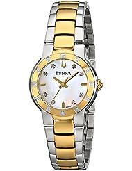 Bulova Womens 98R168 MOP Diamond Dial Tu-Tone Bracelet Watch
