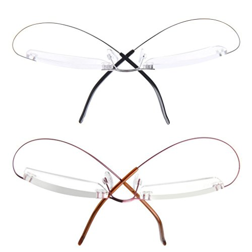 LianSan Designer 2 Pack Titanium Rimless Frame Womens Mens Reading Glasses Light Weight Fashion Stylish Readers L8013, Small Size - Cartier Cheap Glasses