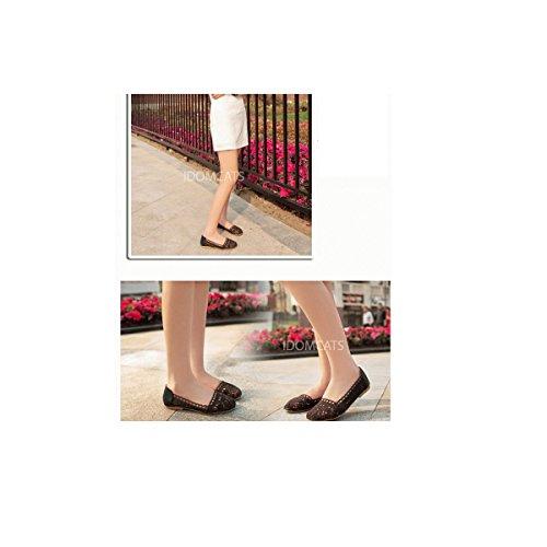 Sandalen flache Spitze Ballerinas Frauen Nonbrand Sommer Ballerinas Schuhe Braun xCaFnq