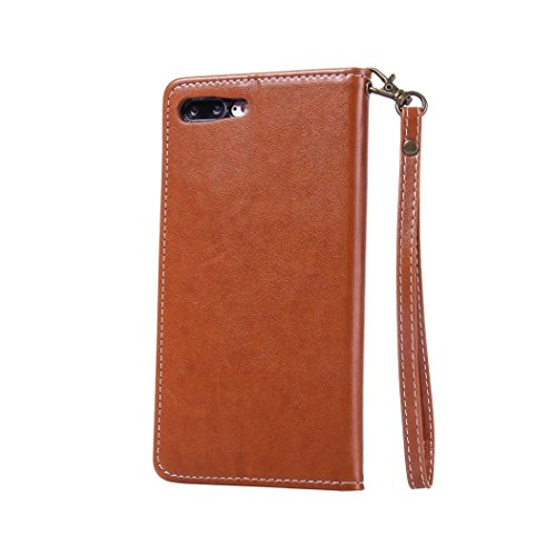 For iPhone 7 Plus Case, HP95(TM) Ultra-Thin Soft New Leather Cards Phone Case Cover For Iphone 7 Plus 5.5 Inch (Brown) (Iphone Plus 6 Cs Spigen)