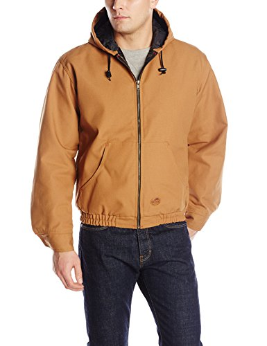 Red Kap Men's Blended Duck Zip-Front Hooded Jacket, Brown Duck, Small ()