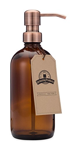 Jarmazing Products Amber Glass Bottle Soap and Lotion Dispenser with Copper Pump - Bird Head - 16 oz
