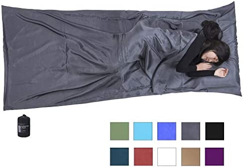 Browint Silk Sleeping Bag Liner, Silk Sleep Sheet, Sack, Extra Wide 87 x43 , Lightweight Travel and Camping Sheet for Hotel, More Colors for Option, Reinforced Gussets, Pillow Pocket