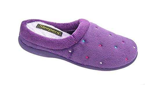 Creolen Damen Pantoffeln, Violett, Memory-Schaum, Größen 3 bis 8