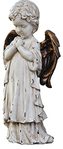 Praying Cherub - Napco 11260 Praying Cherub with Bronze Wings Garden Statue, 12