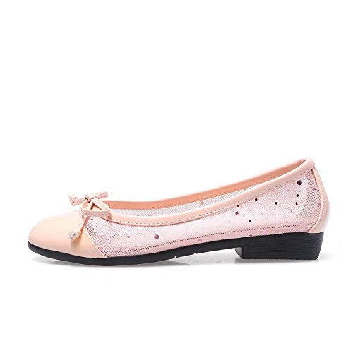 AllhqFashion Womens Round Closed Toe Cow Leather Solid Low Heels Pumps with Bowknot and Mesh Pink WpLMZu